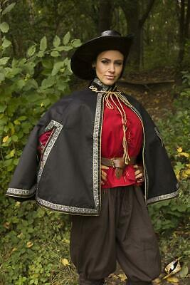 Aramis Cape with Decorative Cord & Braiding for Costume and Re-enactment or LARP