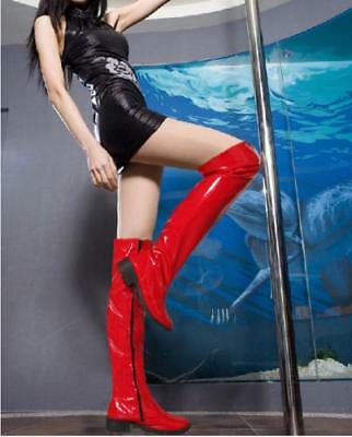 Womens Patent leather over knee thigh high boot platform side zipper punk Shoes