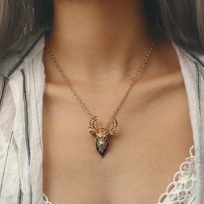 Christmas Deer Elk Long Necklace Rhinestone Head Pendant Cute Choker Necklaces