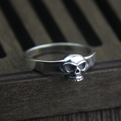 925 Sterling Silver Gothic Skeleton Skull Biker Ring Men Women Jewelry A3603