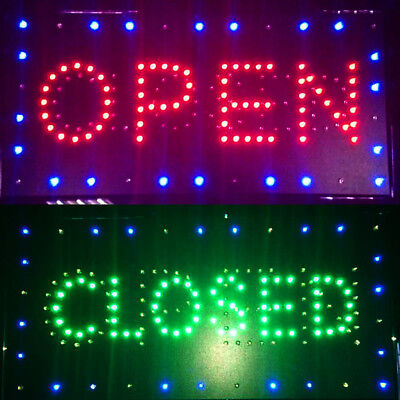 """US 2in1 Open&Closed LED Sign Store Shop Display Neon Light 9.8*20.47"""" Good"""