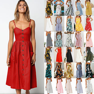 Plus Size Boho Womens Pocket Holiday Long Dress Ladies Summer Floral Midi Dress