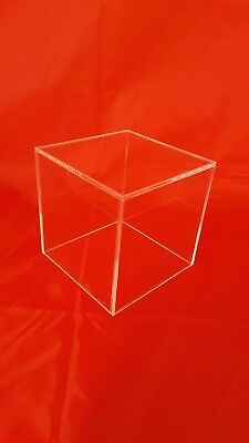 150mm Acrylic Cube Display Stand Square 5 Sided Box Perspex Tray Case Shop