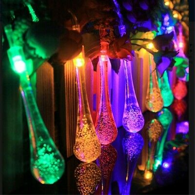 UK Solar String Light 30LED Water Drop Outdoor Garden Party Fairy Lamp Colorful