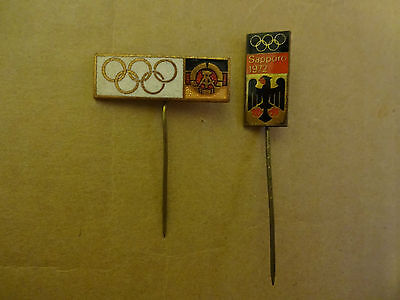 1972 Sapporo Olympic Pin Badge Germany Noc 2 Pins