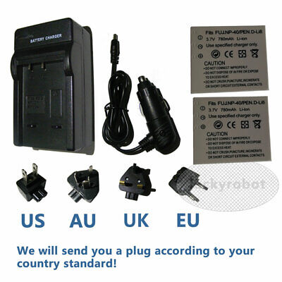 2X Camera NP-40 NP40N  Battery Pack + charger for Fuji FujiFilm FinePix 402 NEW