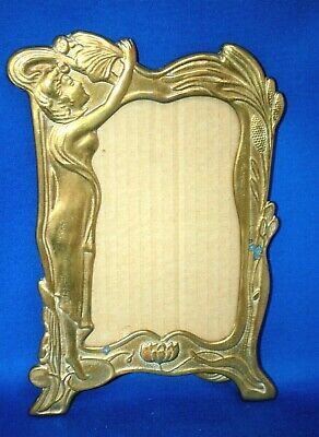 A beautiful Art Nouveau style brass photograph frame with maiden, lily, floral