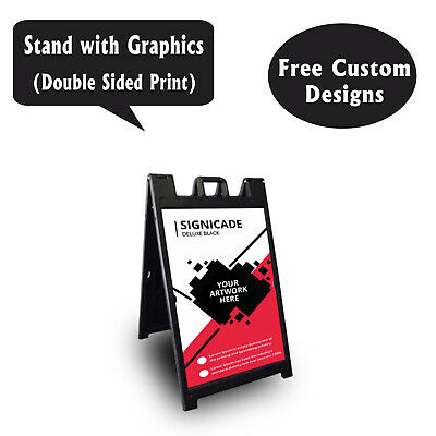 Signicade A Frame Sidewalk Pavement Sign Double Sided Sandwich Board, Dlx Black