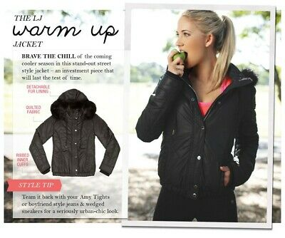 Lorna Jane Quilted Puffa Jacket, Never Worn, Black, Au Xs, Rrp $199