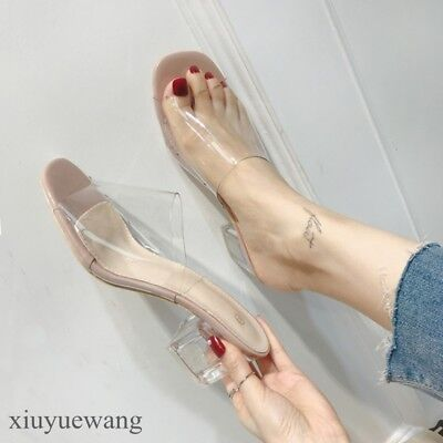 6a57ed411a6 CHIC WOMENS OPEN toe Clear Transparent Slippers Square toe Cuban ...