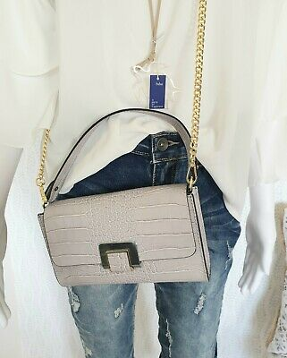 f9bb8631dfeaee Clutch Umhängetasche Crossbody Shopper Leder High Garden Made in Italy Grau