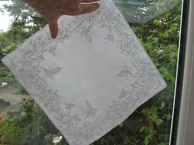 "BIG unused 11.5"" sq white fine linen WEDDING hankie hand-embroidered. Immaculate"