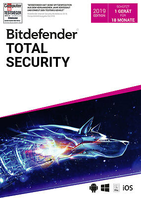 Bitdefender Total Security 2019 / 2020 - Inkl. VPN - 18 Monate / 1 Gerät