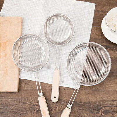 Kitchen Wooden Handle Cooking Strainer Stainless Steel Wire Mesh Sieve Filter AT