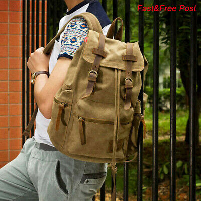 Canvas Travel Sport Rucksack Camping School Satchel Laptop Hiking Bag Backpack