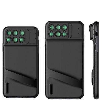 Phone Case With 6 in 1 Wide Angle Macro Fisheye Tele Lens for iPhone XR XS MAX