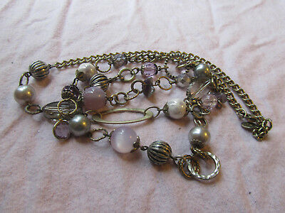 """Accessorize Silver Grey Tone Lilac Plastic & Glass Bead Chain Necklace 38"""" long"""