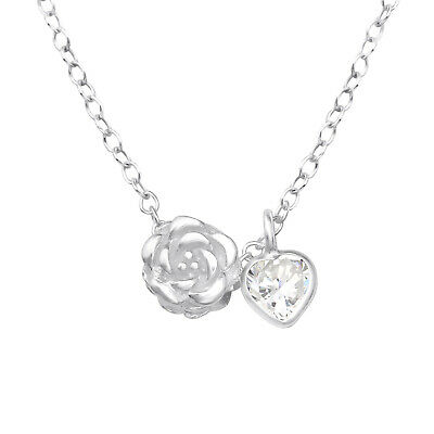 925 Sterling Silver Rose & Crystal Cubic Zirconia Heart Pendant Necklace