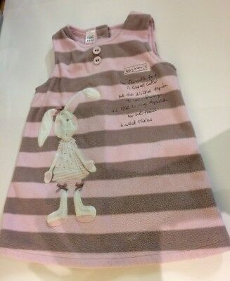 Next Baby Girls Pink Brown Fleece Dress Age 9-12 Months Rabbit Button Back