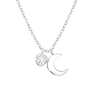 925 Sterling Silver Moon & Crystal Cubic Zirconia Heart Pendant Necklace