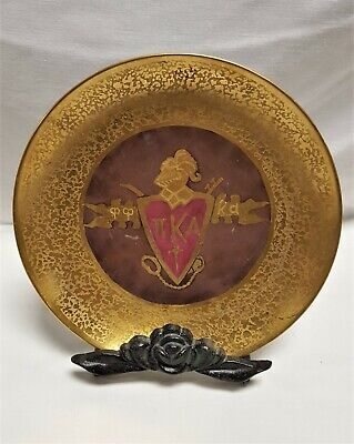 """Antique Hand-Painted Gold 1928 Pi Kappa Alpha πΚΑ Fraternity 8"""" Plate"""