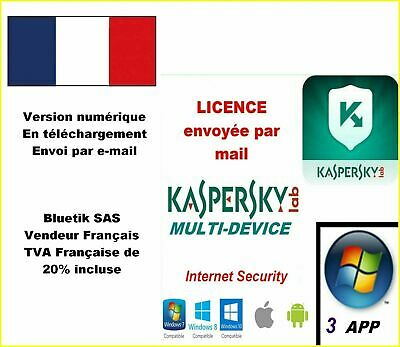 Kaspersky Internet Security Multidevice 2020 - 3 App 1 an Licence par mail - ESD