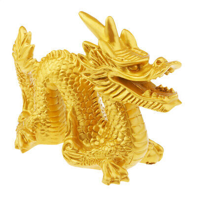 Resin Chinese Feng Shui Dragon Figurine Statue for Luck & Success Art Craft
