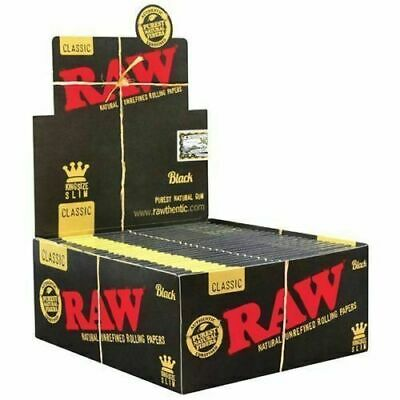 RAW Black Papers King Size Slim Classic Natural Unrefined Smoking Rolling Skin