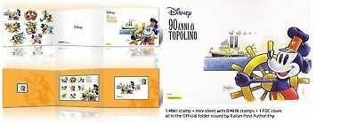 2017 FOLDER MICKEY MOUSE WALT DISNEY 90th years MHN stamps Italy TOPOLINO ITALIA