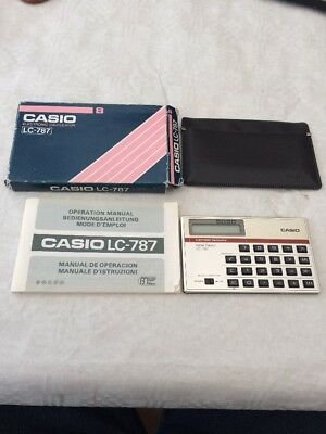 Vintage Casio Electronic Calculator- LC -787 , with Box , Instructions and Case