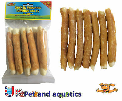 Rawhide Chicken Wrapped Rolls, Dog Chew 12cm