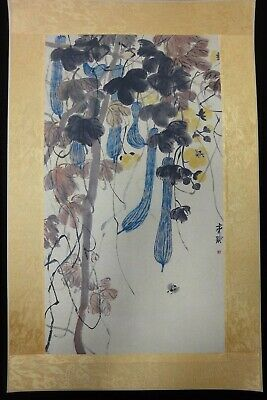 "Vintage Chinese Very Large Paper Painting Towel Gourd ""QiBaiShi"" Mark"
