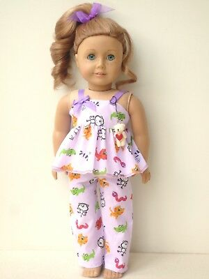American Girl Our Generation Teddy Bear Pajamas Handmade 18 Inch Doll Clothes