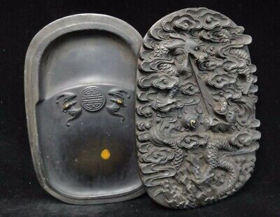 Amazing Fine Old Chinese Hand Carving Dragons Ink Stone and Cover Mark
