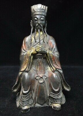 "Rare Old Chinese ""LiuBoWen"" Gilt Bronze Officer Statue with ""YongLe"" Mark"