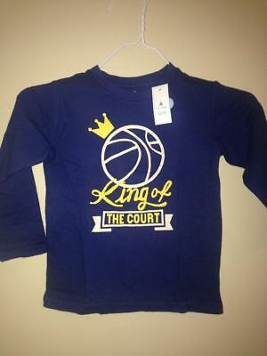Gap Kids Baby Toddler Navy Long Sleeve Basket Ball King of the Court Tee SZ 3 3T