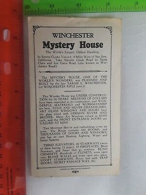 1950s Winchester Mystery House Brochure with Map San Jose California