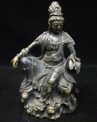 Very Fine Chinese Old Bronze Buddha Seated Statue Figure Sculpture