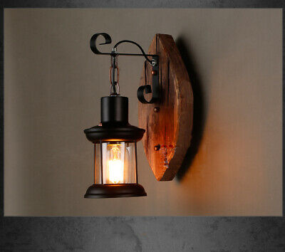 Vintage Wrought Iron Cylinder Glass Shade Wooden Canopy Wall Sconces Fixtures