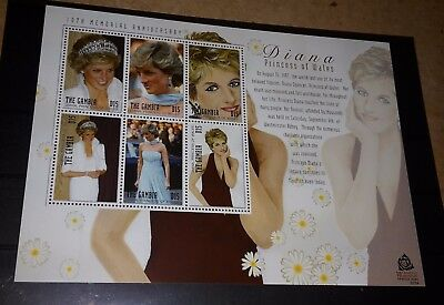 GAMBIA 2007 PRINCESS DIANA 10th MEMORIAL - MINIATURE SHEET STAMPS