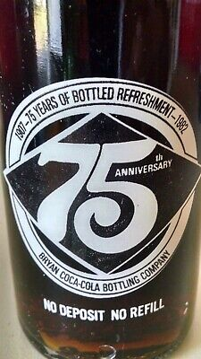 1982 Bryan Coca-Cola Bottling Company 75th Anniversary 1907-1982 10 oz Bottle