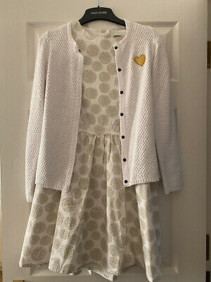 Vertbaudet Girls White Shimmer Party Dress Cut Out Back And Cardigan Bundle 12