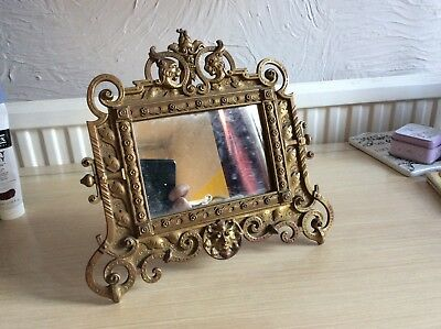 Vintage Brass Easel Picture Frame Mirror by Adolf Frankau London.Pagan