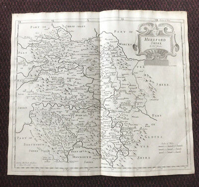 1695 COUNTY of HEREFORDSHIRE Original English Antique Map  Robert Morden RARE