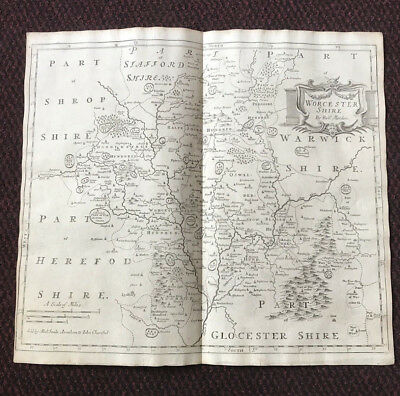 1695 COUNTY of WORCESTERSHIRE Original English Antique Map  Robert Morden RARE