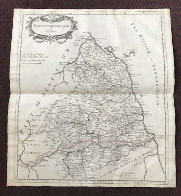 1695 COUNTY of NORTHUMBERLAND Original English Antique Map  Robert Morden RARE
