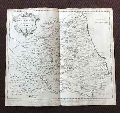 1695 - COUNTY DURHAM - Original English Antique Map  Robert Morden RARE