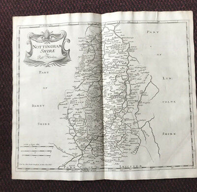 1695 COUNTY of NOTTINGHAMSHIRE Original English Antique Map  Robert Morden RARE