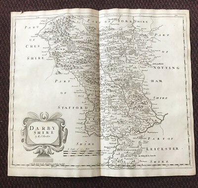 1695 COUNTY of DARBYSHIRE (Derbyshire) English Antique Map  Robert Morden RARE