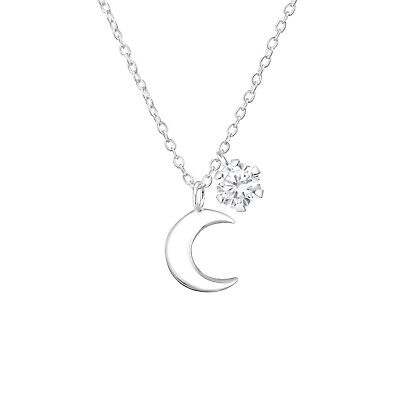 925 Sterling Silver Moon & Crystal Cubic Zirconia Circle Pendant Necklace